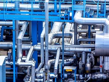 Chemischen - Rohrgestelle, kabel, leitungen